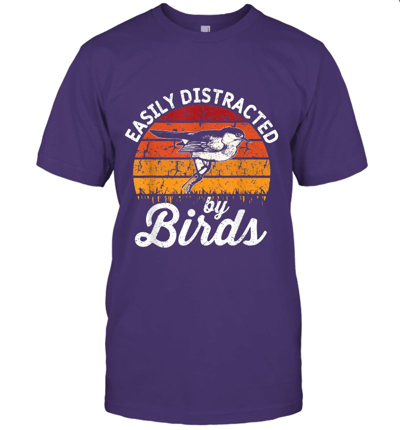 Vintage Distressed Easily Distracted By Birds Funny Bird T-Shirt